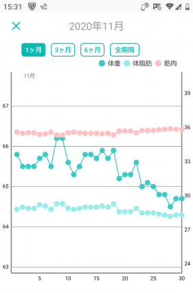 -10キロの体重グラフ(7か月目)